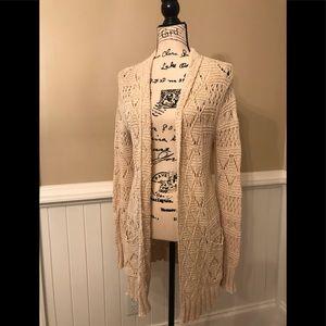 Lucky brand crochet cardigan cream long sleeve